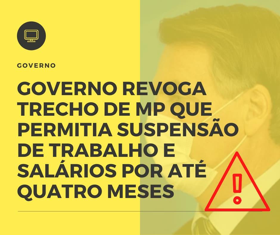 Governo Revoga Trecho De Mp Que Permitia Suspensão De Trabalho E Salários Por Até Quatro Meses - Contabilidade Em Santo André | Costa Menezes Contábil
